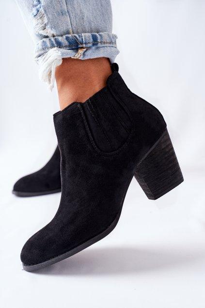 Členkové topánky na podpätku farba čierna kód obuvi OM114 BLK