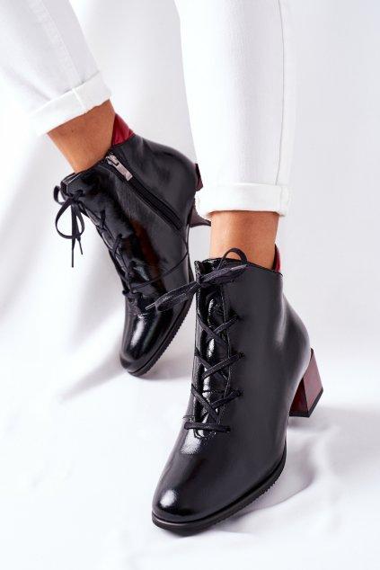 Členkové topánky na podpätku farba čierna kód obuvi 2202 600-602 BLK