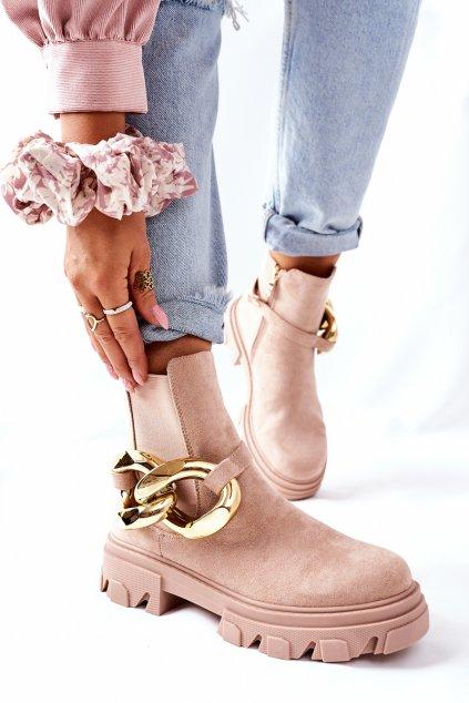Členkové topánky na podpätku farba hnedá kód obuvi L13107-9 BEIGE