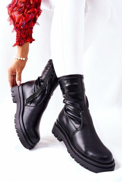 Členkové topánky na podpätku farba čierna kód obuvi 212-53A BLK