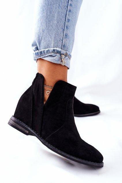 Členkové topánky na podpätku farba čierna kód obuvi 208-2 BLK