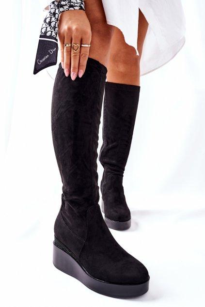 Dámske čižmy farba čierna kód obuvi 19005-7 BLK