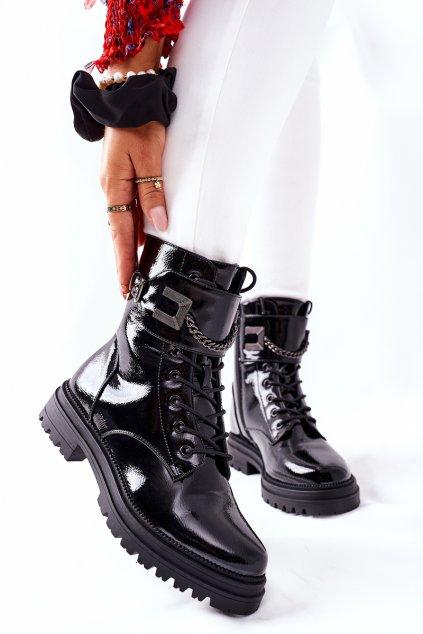 Členkové topánky na podpätku farba čierna kód obuvi 34-55P PATENT