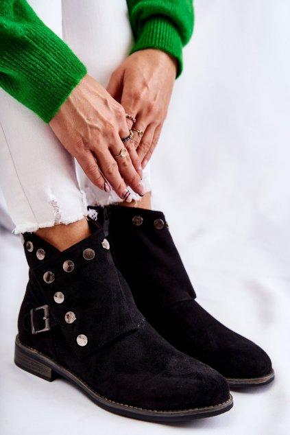 Členkové topánky na podpätku farba čierna kód obuvi 66-69 BLK