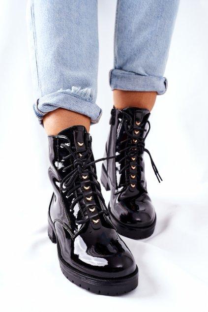 Členkové topánky na podpätku farba čierna kód obuvi 202-66 BLK