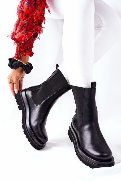 Členkové topánky na podpätku farba čierna kód obuvi 7223 BLK