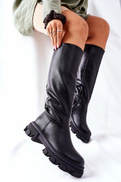 Dámske čižmy farba čierna kód obuvi 12Y-1 BLK