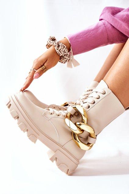 Členkové topánky na podpätku farba hnedá kód obuvi L13107-8 BEIGE