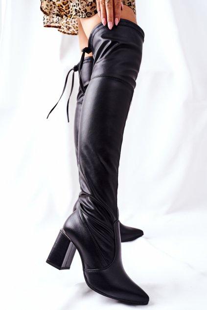 Dámske čižmy farba čierna kód obuvi 3063 BLK
