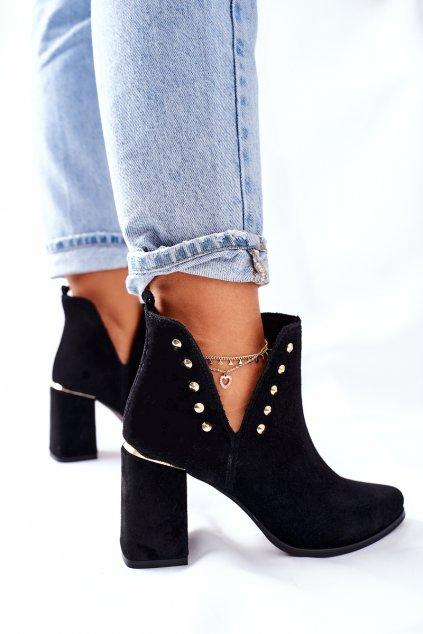 Členkové topánky na podpätku farba čierna kód obuvi 3075 BLK WEL