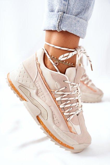 Dámske tenisky farba hnedá kód obuvi LA181P BEIGE