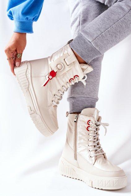 Členkové topánky na podpätku farba hnedá kód obuvi NB509 BEIGE