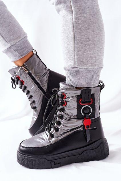 Členkové topánky na podpätku farba sivá kód obuvi NB509 GUN