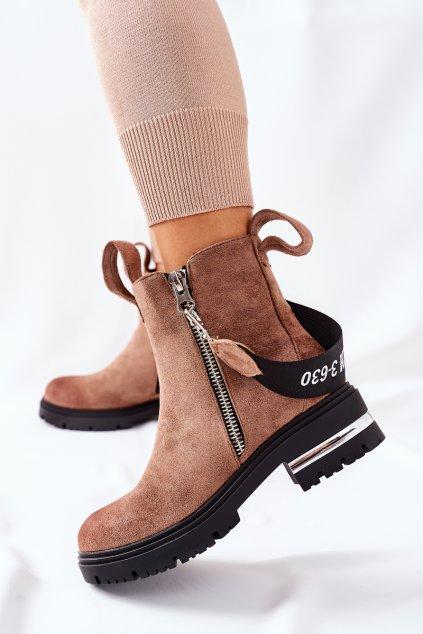 Členkové topánky na podpätku farba hnedá kód obuvi NC1159 KHAKI