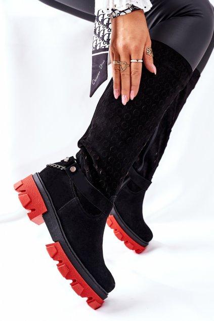 Dámske čižmy farba čierna kód obuvi 2866/G BLK WEL