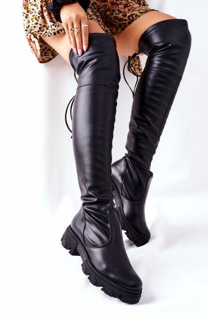 Dámske čižmy farba čierna kód obuvi 3064 BLK