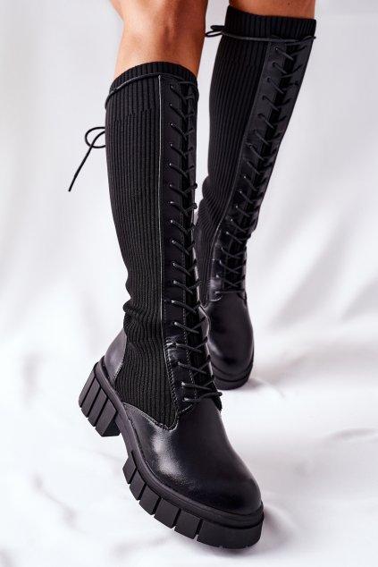 Dámske čižmy farba čierna kód obuvi QT13 BLK