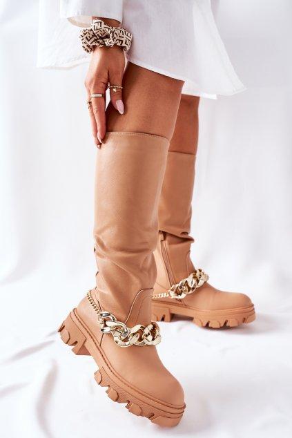 Dámske čižmy farba hnedá kód obuvi QT20 CAMEL