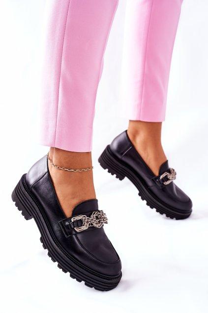 Dámske poltopánky farba čierna kód obuvi 2383 100 BLK