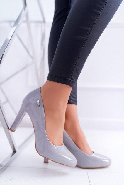 Dámske lodičky farba sivá kód obuvi 1457 GREY LAKIER