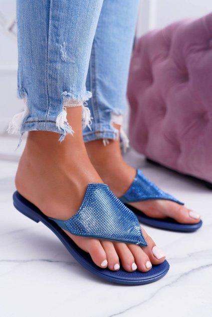 Dámske šľapky farba modrá kód obuvi TJ001-345 NAVY