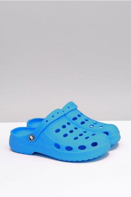 Dámske šľapky farba modrá kód obuvi A-002 Hole Blue