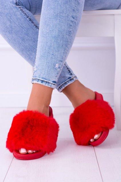 Dámske šľapky farba červená kód obuvi ZY349-001 RED