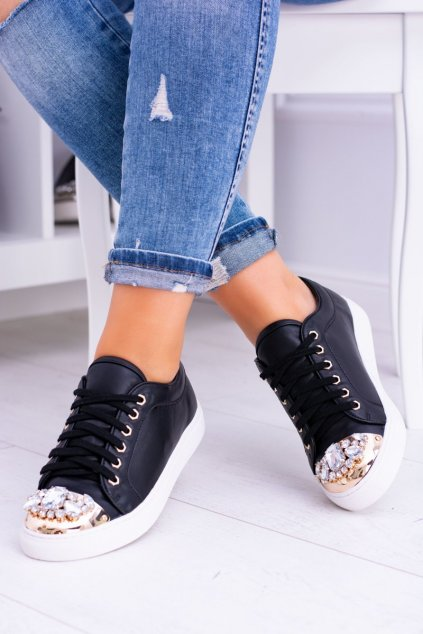 Dámske tenisky farba čierna kód obuvi XW37015 BLK/GOLD