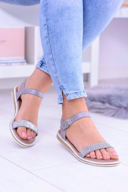 Dámske sandále farba sivá kód obuvi 701-18 GREY