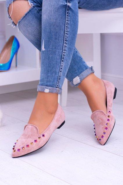 Dámske balerínky farba ružová kód obuvi 128-A5 PINK