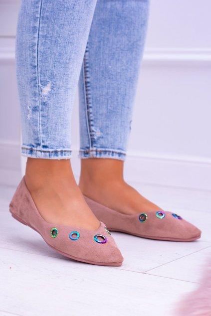 Dámske balerínky farba ružová kód obuvi 009-3 PINK