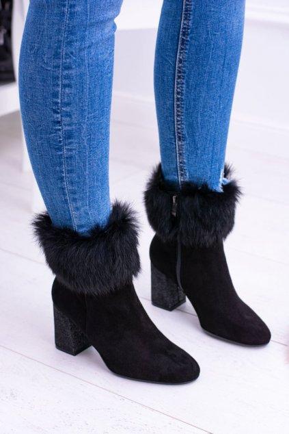 Členkové topánky na podpätku farba čierna kód obuvi 1689 BLK