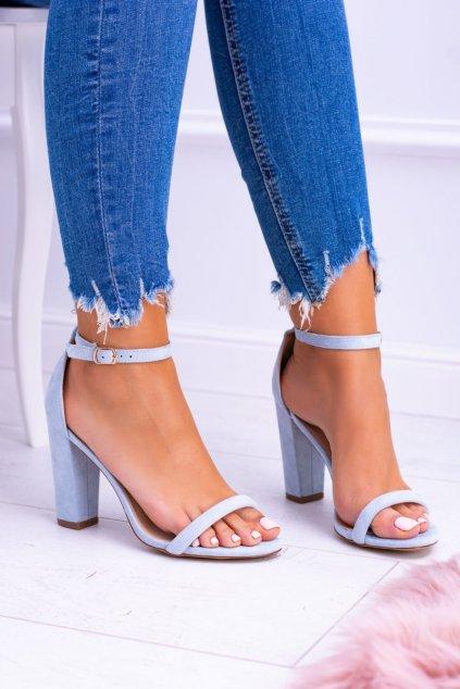 Dámske sandále na podpätku farba modrá kód obuvi LB-04 BLUE
