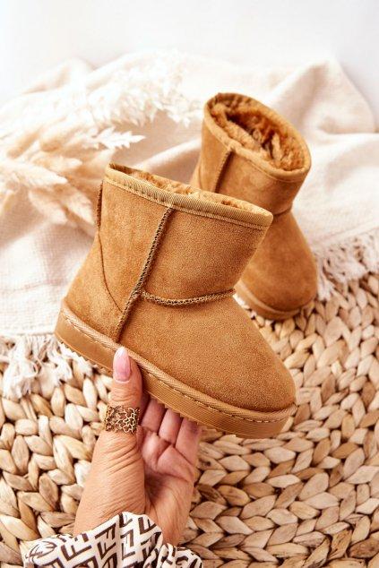 Dámske snehule farba hnedá kód obuvi 20213-B KHAKI