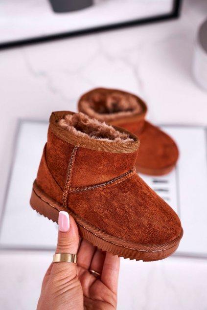 Detské snehule farba hnedá kód obuvi 20213-D D.KHAKI