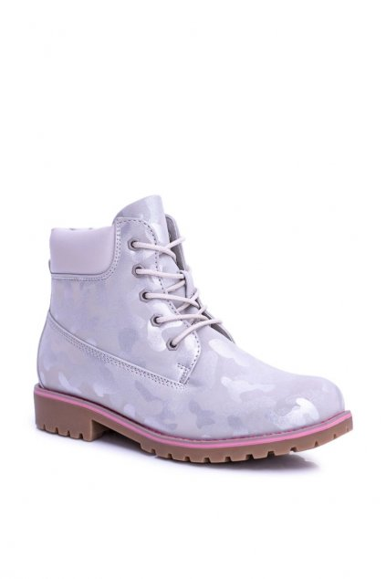Detské členkové topánky farba sivá kód obuvi 8DZ35-0714-D-LT.GREY