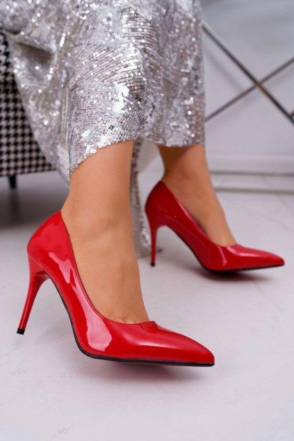 Dámske lodičky farba červená kód obuvi D-42 RED