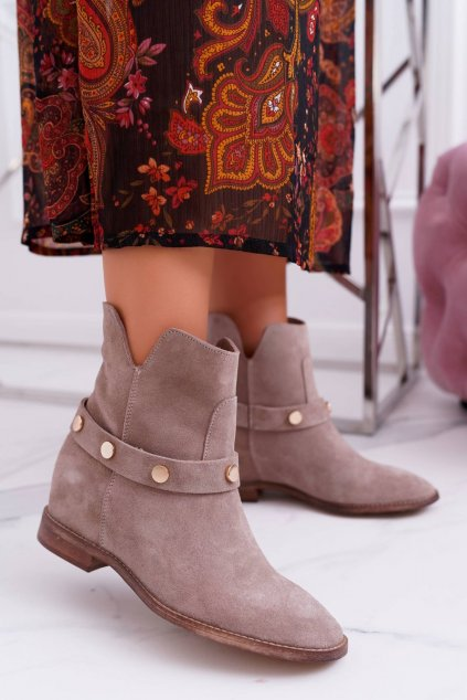 Členkové topánky na podpätku farba hnedá kód obuvi 1890 BEIGE 971