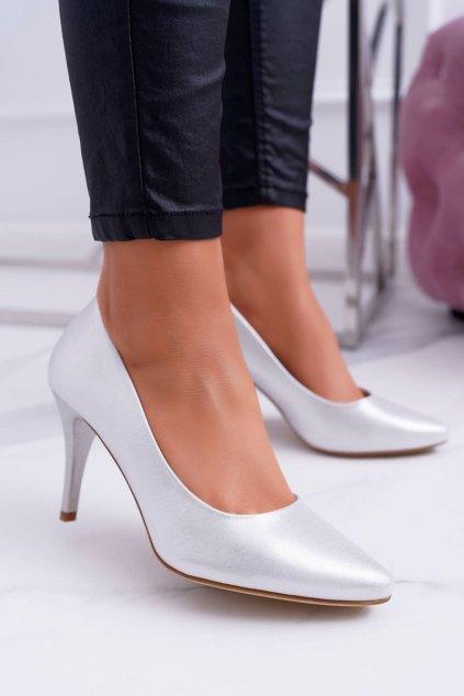 Dámske lodičky farba sivá kód obuvi 1399 SILVER FLASH
