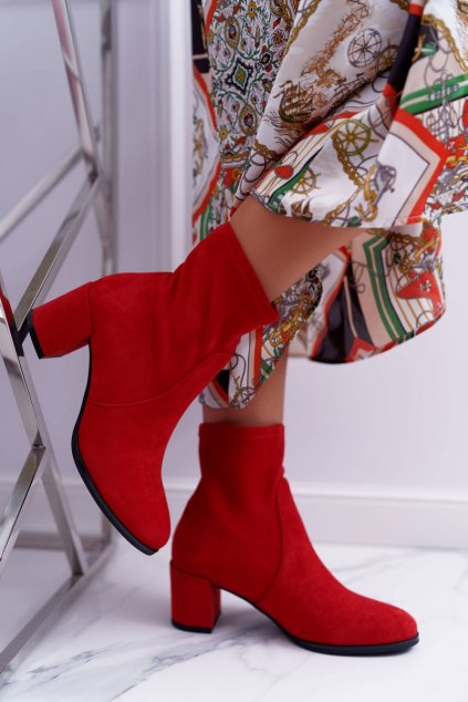 Členkové topánky na podpätku farba červená kód obuvi BT150 RED