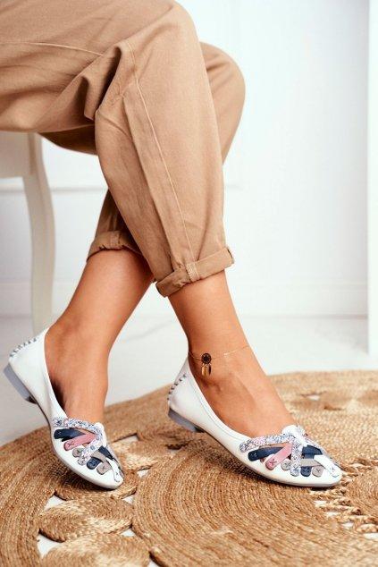 Dámske balerínky farba biela kód obuvi 01358-21/00-0 WHITE
