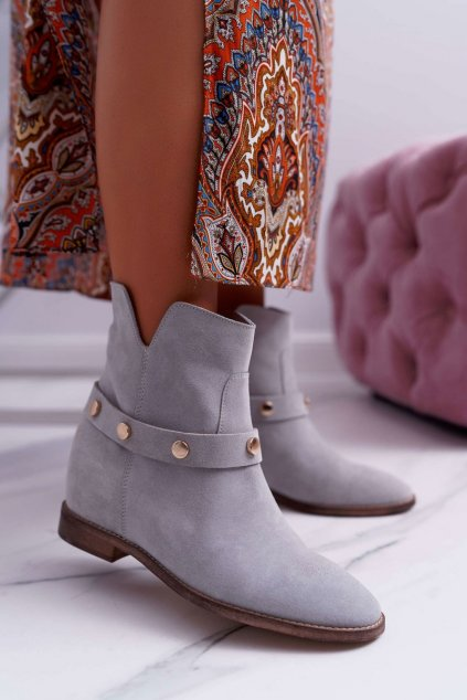 Členkové topánky na podpätku farba sivá kód obuvi 1890 GREY 972