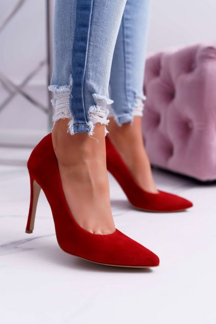 Dámske lodičky farba červená kód obuvi 1727 RED 965