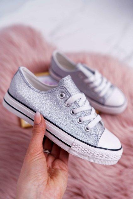 Detské tenisky farba sivá kód obuvi 863 SILVER