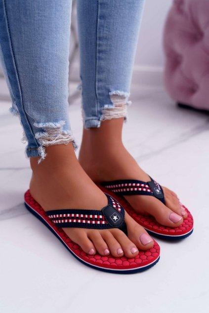 Dámske šľapky farba červená kód obuvi DD274A252 RED