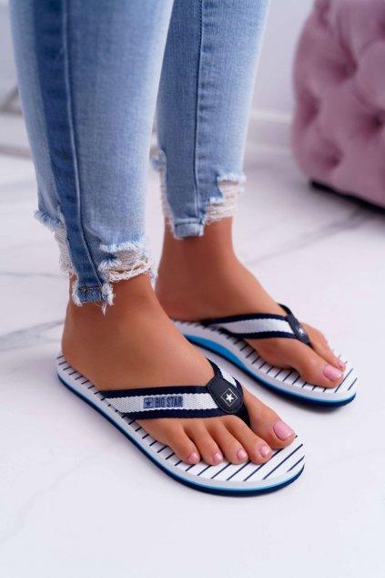 Dámske šľapky farba modrá kód obuvi DD274A250 NAVY
