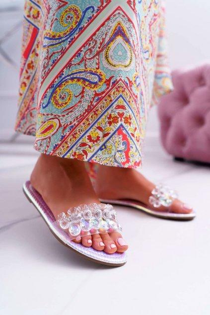 Dámske šľapky farba sivá kód obuvi SF23 SILVER