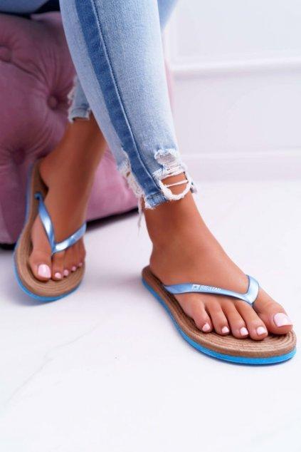 Dámske šľapky farba modrá kód obuvi AA274A122 BLUE