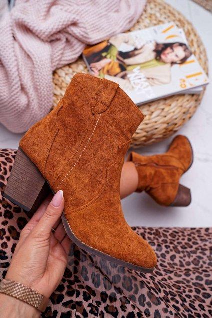 Členkové topánky na podpätku farba hnedá kód obuvi 100-975 CAMEL
