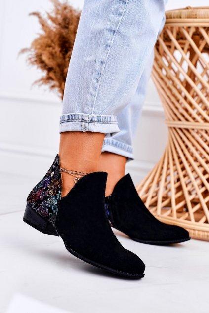 Členkové topánky na podpätku farba čierna kód obuvi 04091-57 BLK KWIATY